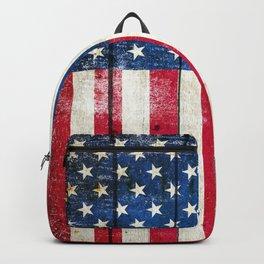 Vintage American Flag On Old Barn Wood Backpack