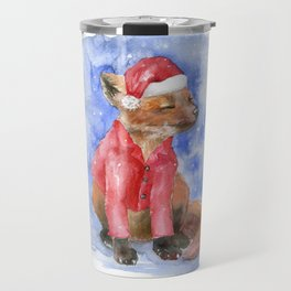 Christmas Fox Watercolor Travel Mug