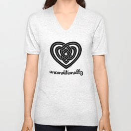 UNCONDITIONALLY in black Unisex V-Neck