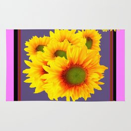 Pink Sunflowers Still life Vinette Rug