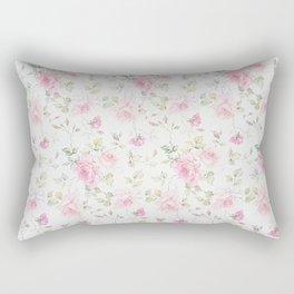 Elegant blush pink white vintage rose floral Rectangular Pillow
