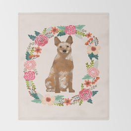 Australian Cattle Dog red heeler floral wreath dog gifts pet portraits Throw Blanket