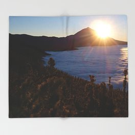 Sunset Canary Islands forest and Volcano Teide in Tenerife Throw Blanket