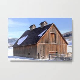 A Crested Butte, Colorado Barn at Below Zero Degrees Metal Print