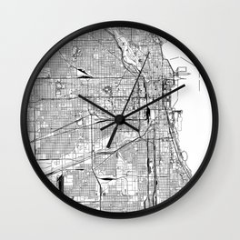 Chicago White Map Wall Clock