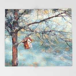 A Chickadees Home Throw Blanket