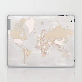 """Rustic world map in grey and brown """"Lucille"""" Laptop & iPad Skin"""