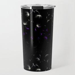 Dandelion Seeds Asexual Pride (black background) Travel Mug