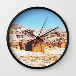 sand desert with orange mountain in California, USA with summer blue sky Wall Clock