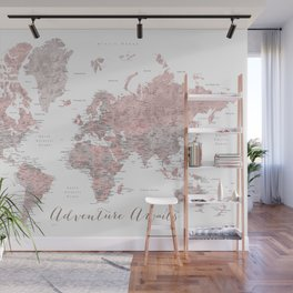 World map in dusty pink & grey watercolor, Adventure awaits Wall Mural