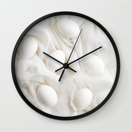 White eggs Wall Clock