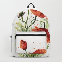 Red Poppies Watercolor Flower Floral Art Backpack