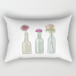 flowers in glass bottles . Pastel ( https://society6.com/totalflora/collection ) Rectangular Pillow