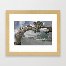 Venice Twice bridge Rialto, Italy Framed Art Print