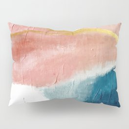 Exhale: a pretty, minimal, acrylic piece in pinks, blues, and gold Pillow Sham