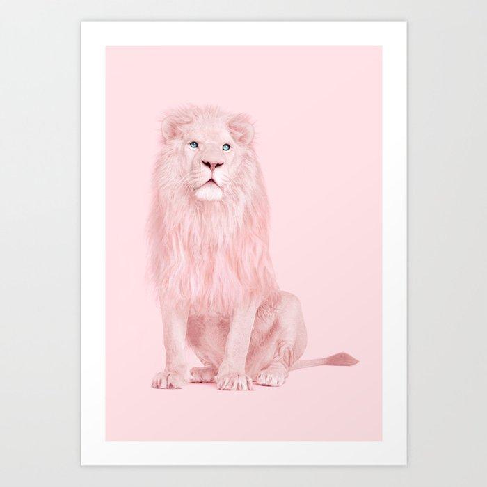 PINK LION Art Print By Paulfuentes