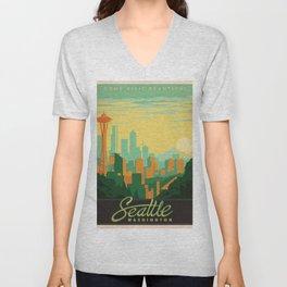 Vintage poster - Seattle Unisex V-Neck