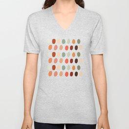 Warm Autumn, minimal retro Hand drawn pastel dots pattern Unisex V-Neck
