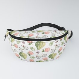 Bicycles Roses and Balloons Pattern Fanny Pack