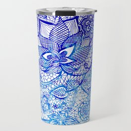 Modern china blue ombre watercolor floral lace hand drawn illustration Travel Mug