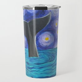 Whale Tail Under Starry Nigh Travel Mug