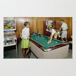 1960's Game room with Pinball and a Pool Table in the Admiral Motel in Wildwood, NJ Rug