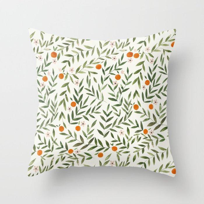 Oranges Foliage Throw Pillow