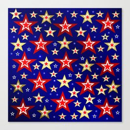 christmas pattern red star, gold stars,blue shiny background Canvas Print