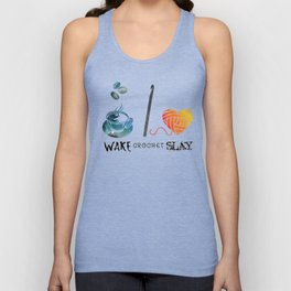 Wake Crochet Slay - Fiber Arts Quote Unisex Tank Top