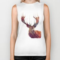 is the new black Biker Tanks featuring Red Deer // Stag by Amy Hamilton