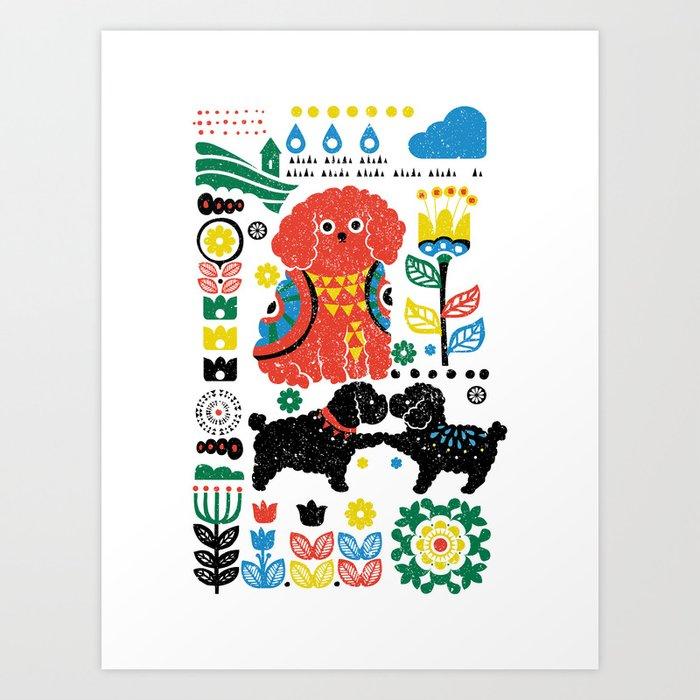 Scandinavian Poodle Art Print