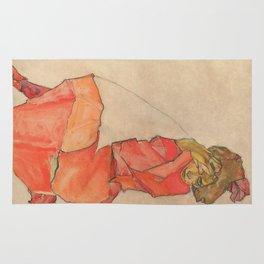 Egon Schiele - Kneeling Female in Orange-Red Dress Rug