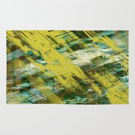 Hidden Meaning - Abstract, oil painting in yellow, green, blue, white and brown Rug