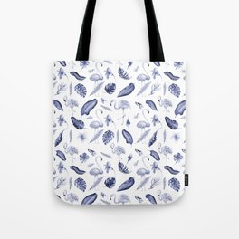Tropical navy blue white elegant flamingo floral pattern Tote Bag