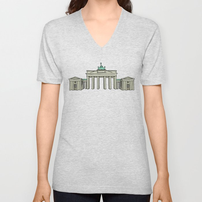 Brandenburg Gate in Berlin Unisex V-Neck