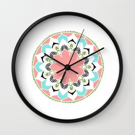 Mandala: White and Pink Wall Clock