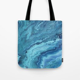 Teal Geode: Acrylic Pour Painting Tote Bag
