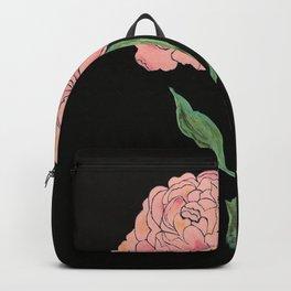 Peony on black Backpack