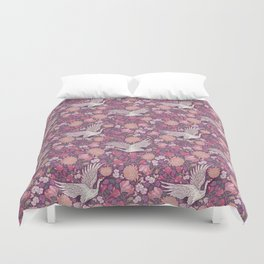 Cranes with chrysanthemums and pink magnolia on purple background Duvet Cover
