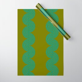 groovy minimalist pattern aqua waves on olive Wrapping Paper