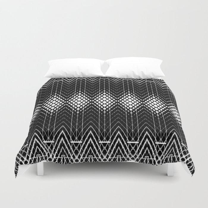Geometric Black and White Diamond Scales Pattern Duvet Cover