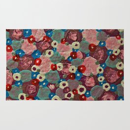 Mixed Flowers - Abstract Mixed Media Painting Rug