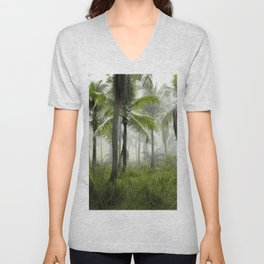 Foggy Palm Forest Unisex V-Neck