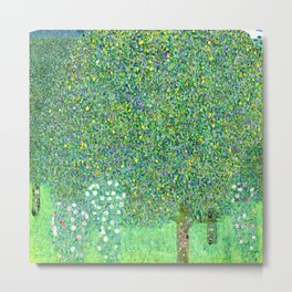 "Gustav Klimt ""Rosebushes under the Trees"" Metal Print"