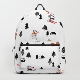 Mountain skiing in alpine chalet snow forest Backpack