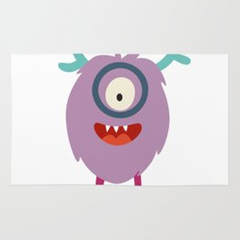 Emoji smart monster. Cute clever cyclop vector illustration Rug