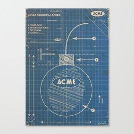 Acme Spherical Bomb vintage Blueprint Canvas Print