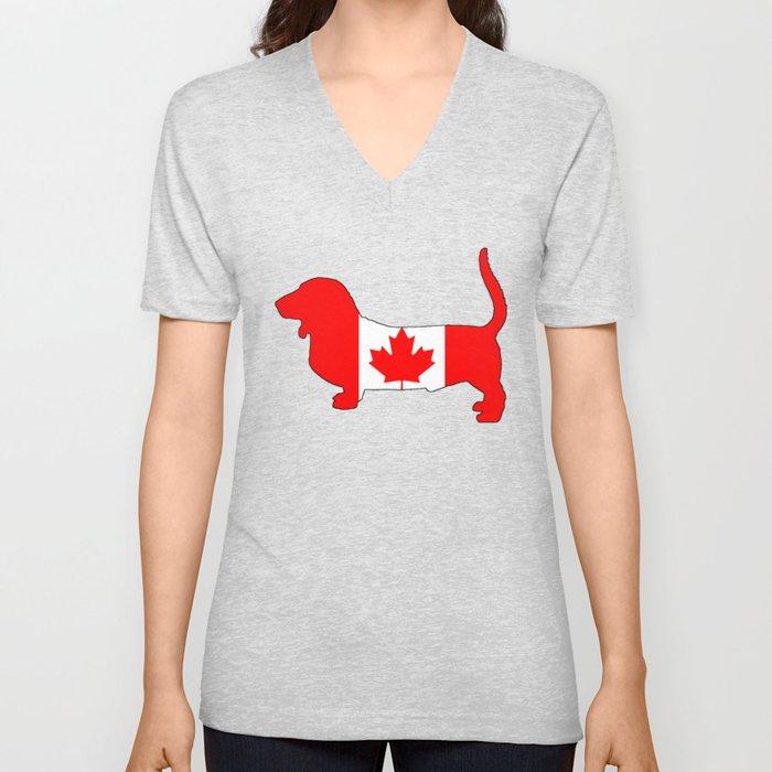 "Basset Hound ""Canada"" Unisex V-Neck"