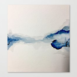 Abstract Blue Watercolor Canvas Print