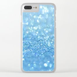 Sparkling Baby Sky Blue Glitter Effect Clear iPhone Case